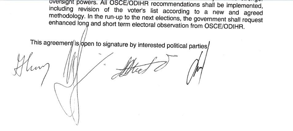 Потписите на четворицата лидери под Договорот од Пржино. Фото: ЕУ веб сајт
