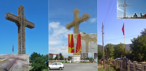 New independent crosses throughout Macedonia. Photo: Wikipedia/Flickr/Volino/Prespana.  Collage: Truthmeter