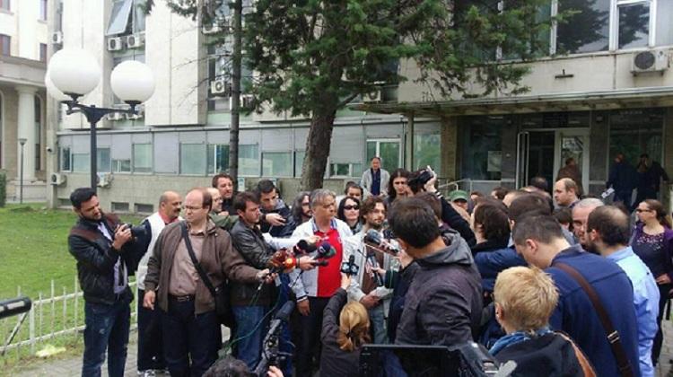 Прес на Левица по апсењето на нивниот член, д-р Здравко Савевски. Фото: Т. Блажевски