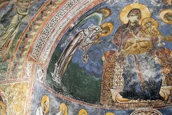 Фрескоживопис од Црква Св.Ѓорѓи, Курбиново. Фото: Скриншот