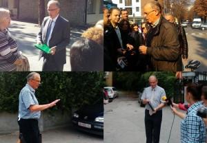Piter Vanhojte para gazetarëve me pas shumë shtytjeve verbale me politikanët e Maqedonisë. Foto:Meta
