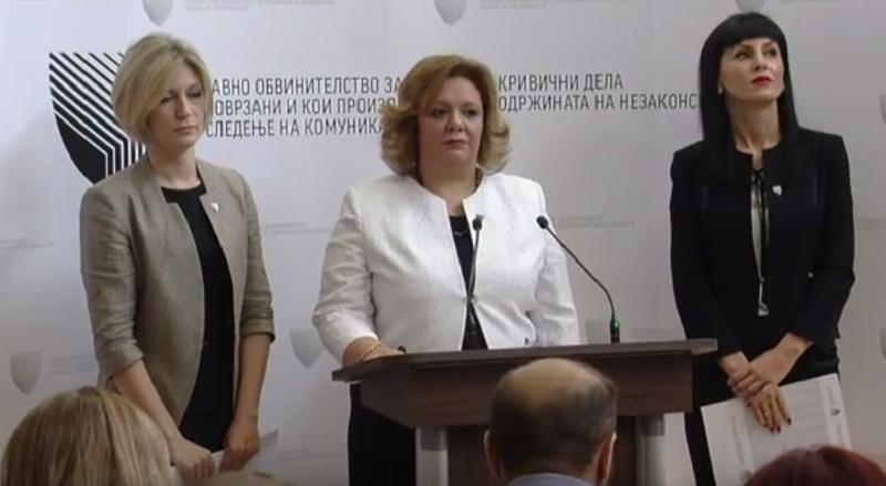 Л. Ристеска, К. Јанева и Ф. Фетаи на последниот прес. Фото: скриншот