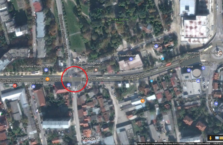 Местото каде што требаше да има кружен тек Фото:www.google.mk/maps