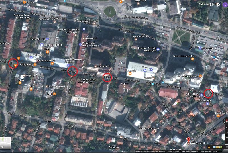 """Местата на кои улицата """"Козара"""" ја пресекува """"Васил Ѓоргов"""" во Капиштец  Фото:www.google.mk/maps"""