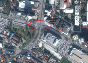 """Местото  кај НИП """"Нова Македонија"""" каде што требаше да почне да се гради кружнатa крстосница  Фото:www.google.mk/maps"""