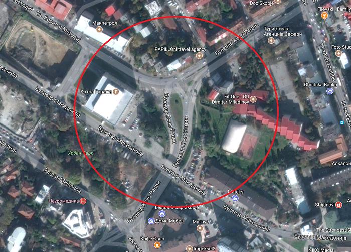 """Локацијата на булеварот """"Кочо Рацин"""" каде што требаше да почне да се гради кружнатa крстосница Фото: www.google.mk/maps"""