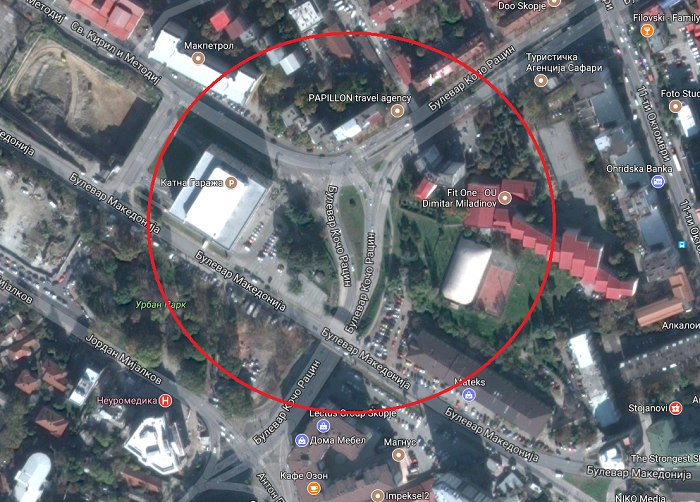 """Lokacioni te bulevardi """"Koço Racin"""" ku duhej që të filloj ndërtimi i unazës Foto:  www.google.mk/maps"""