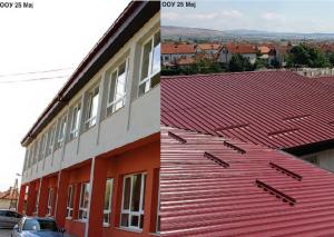 """Shkolla """"25 Maji"""" me çati, fasadë dhe dritare të reja. Foto:Kolazh, ueb-faqja e Komunës së Gazi Babës"""
