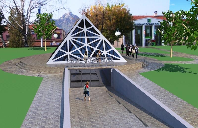 """Стаклената пирамида што требаше да се гради на плоштадот """"Александрија"""" во Прилеп  Фото: Општина Прилеп"""