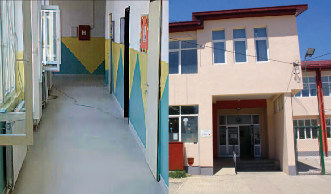 Основното училиште во с.Стајковци е реновирано летото 2016 г.  Фото: Колаж , веб-страница на Општина Гази Баба