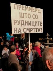 еколошки активисти на предизборен митинг на СДСМ во Богданци