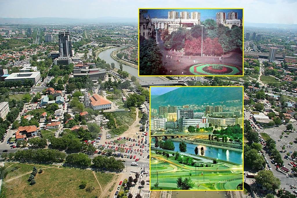 Скопје пред (приближно) 2, 3 и 4 децении: многу повеќе зеленило. Фото: Твитер