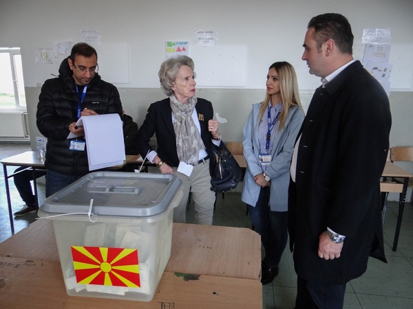 The head of OSCE/ODIHR election observation mission Audrey Glover at a polling station in Tetovo. Photo: OSCE/Thomas Rymer