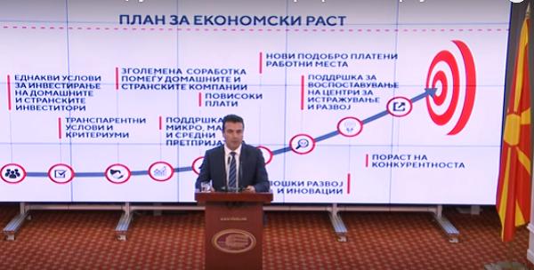 Премиерот Заев го презентира Планот. Фото: скриншот