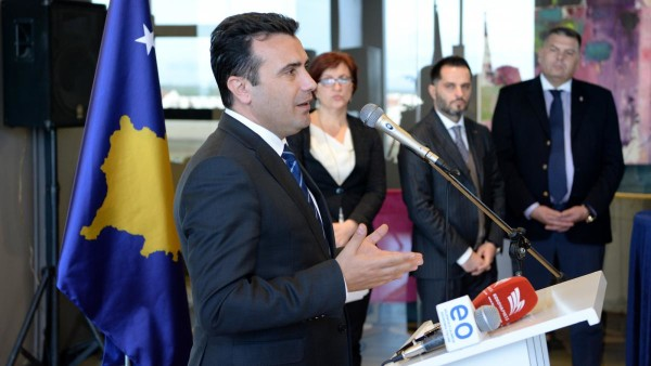Zaev holding the floor in front of Kosovo businesspersons. Photo: Government of RM's website